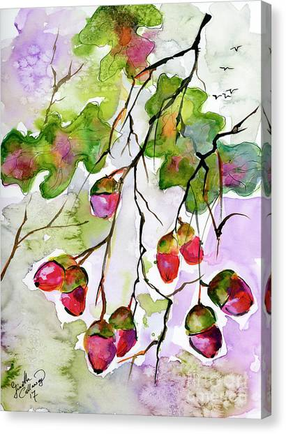 Acorns In The Autumn Evening Sun Canvas Print