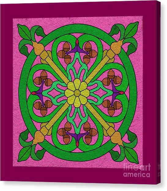Acorns On Pink Canvas Print