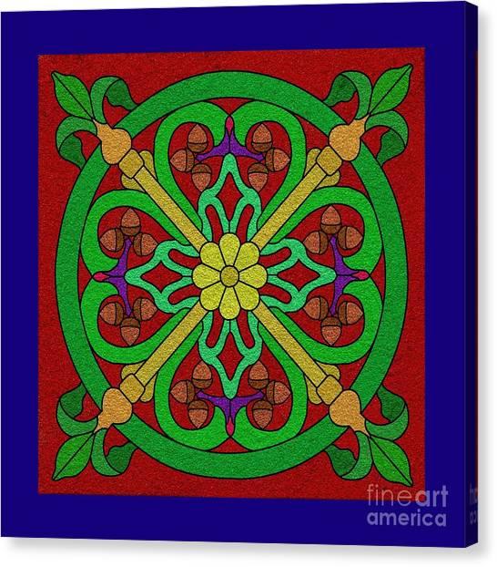 Acorns On Red 2 Canvas Print