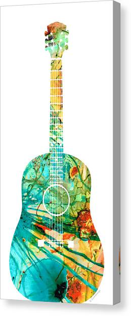 Acoustic Guitars Canvas Print - Acoustic Guitar 2 - Colorful Abstract Musical Instrument by Sharon Cummings