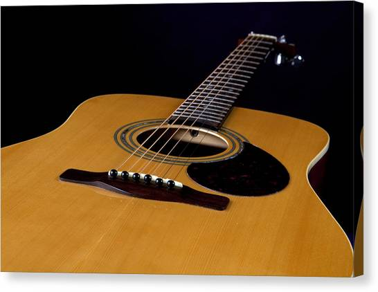 Acoustic Guitar  Black Canvas Print
