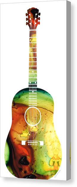 Acoustic Guitars Canvas Print - Acoustic Guitar - Colorful Abstract Musical Instrument by Sharon Cummings