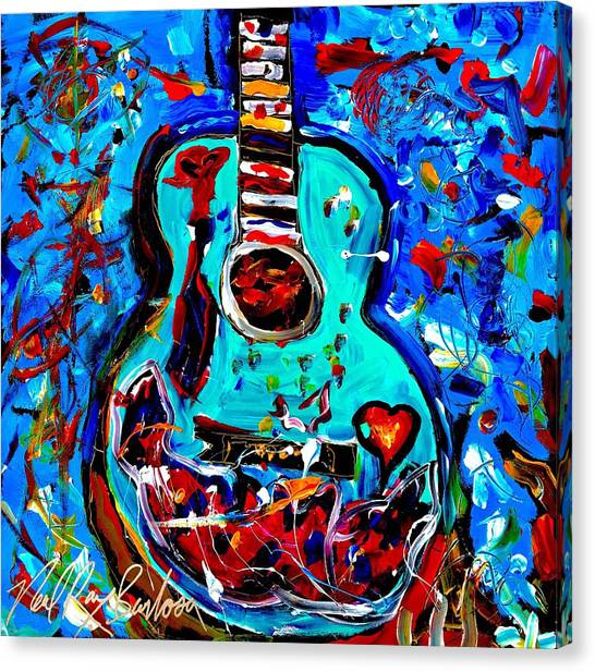 Acoustic Love Guitar Canvas Print