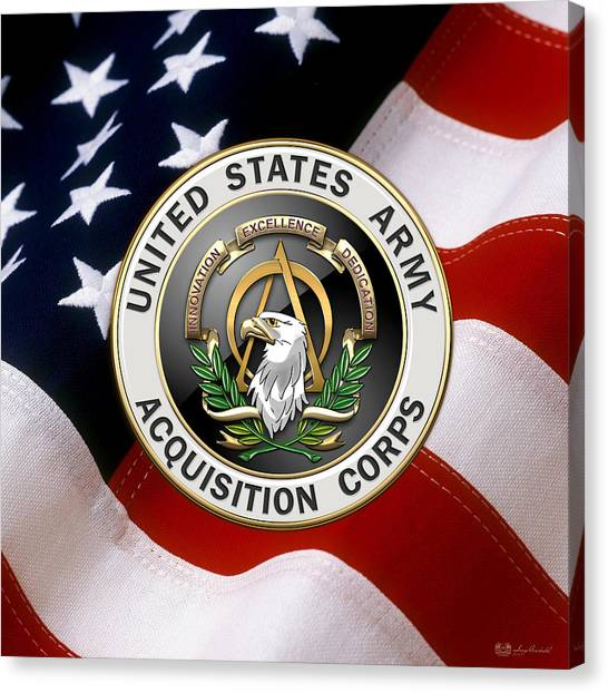 Aac Canvas Print - Acquisition Corps - A A C Branch Insignia Over U. S. Flag by Serge Averbukh