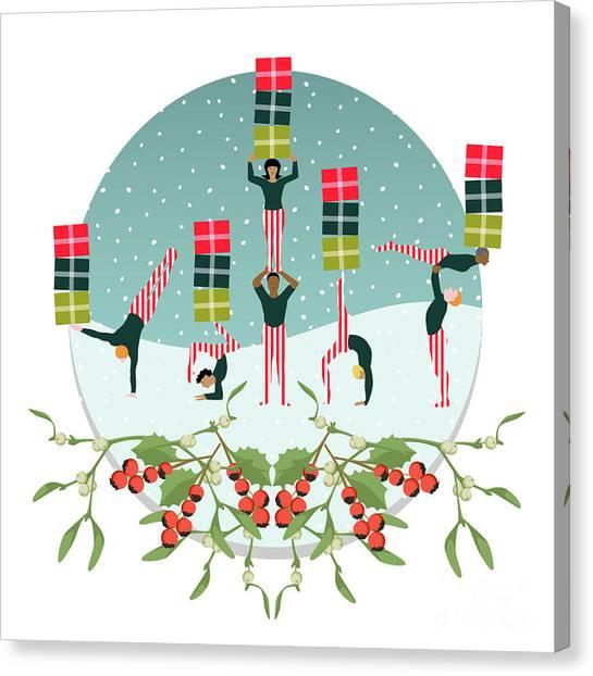 Acrobatic Canvas Print - Acrobatic Parcel Delivery by Claire Huntley