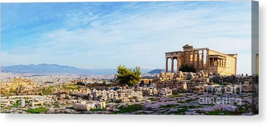 The Acropolis Canvas Print - Acropolis Of Athens Panoramic by HD Connelly