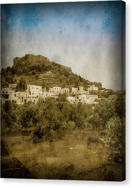 Canvas Print featuring the photograph Rhodes, Greece - Acropolis Of Lindos by Mark Forte