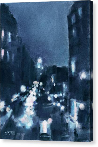 Navy Blue Canvas Print - Across 23rd Street Nyc High Line At Night by Beverly Brown