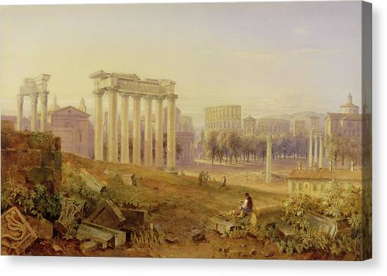 The Forum Canvas Print - Across The Forum - Rome by Hugh William Williams
