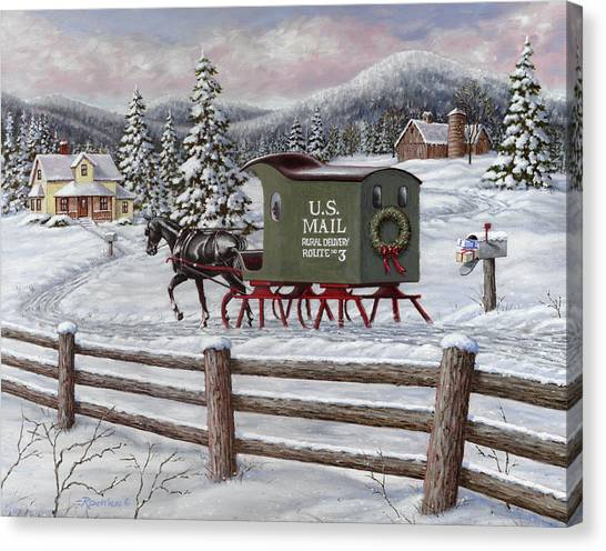 Trees In Snow Canvas Print - Across The Miles by Richard De Wolfe