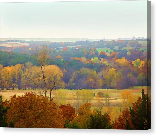 Across The River In Autumn Canvas Print