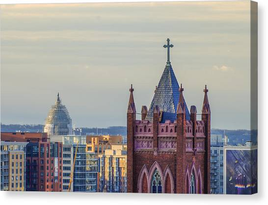 Washington Capitals Canvas Print - Across The Rooftops In Washington Dc by Bill Cannon