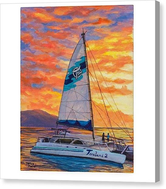 Sailboats Canvas Print - Acrylic Painting sunset Cruise by Darice Machel McGuire