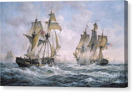 American Flag Canvas Print - Action Between U.s. Sloop-of-war 'wasp' And H.m. Brig-of-war 'frolic' by Richard Willis