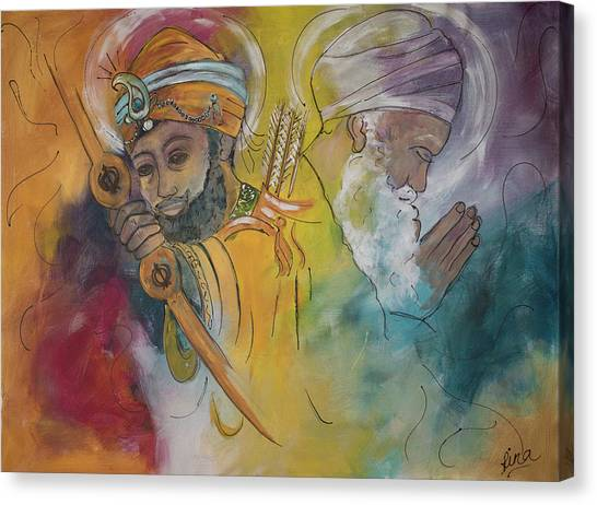Sikh Art Canvas Print - Action In Peace by Rina Bhabra