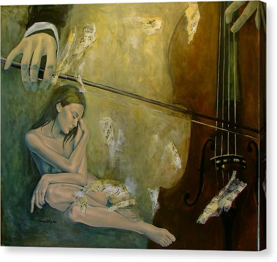 Cellos Canvas Print - Adagio  Sentimental Confusion by Dorina  Costras