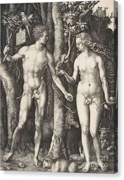 Torah Canvas Print - Adam And Eve, 1504  by Albrecht Durer