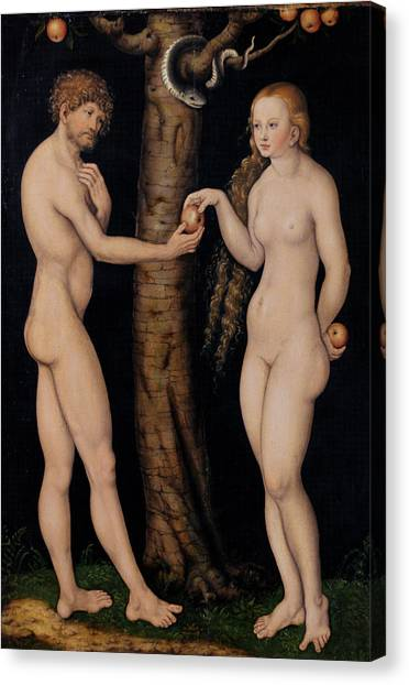 Old Testament Canvas Print - Adam And Eve In The Garden Of Eden by The Elder Lucas Cranach