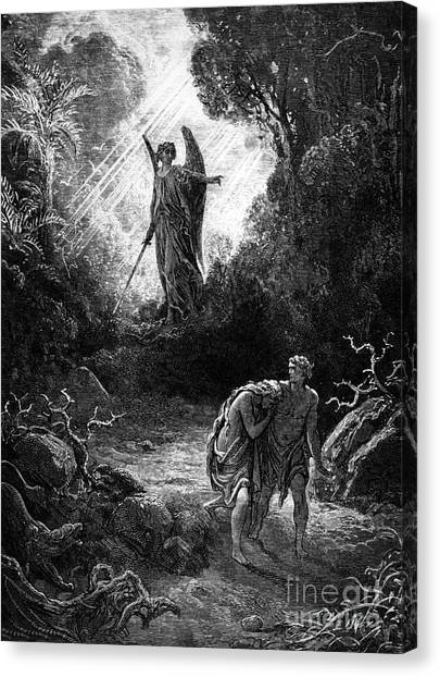 Angel Falls Canvas Print - Adam And Eve Leaving Paradise by Gustave Dore
