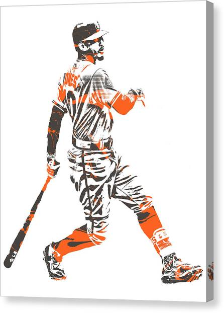 Orioles Canvas Print - Adam Jones Baltimore Orioles Pixel Art 11 by Joe Hamilton
