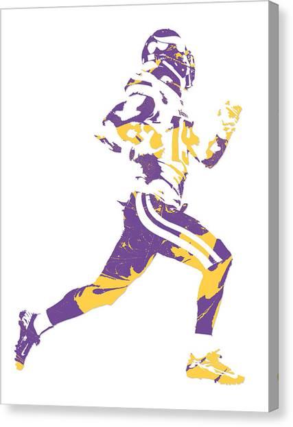 Minnesota Vikings Canvas Print - Adam Thielen Minnesota Vikings Pixel Art 1 by Joe Hamilton