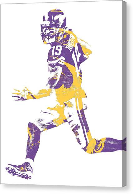 Minnesota Vikings Canvas Print - Adam Thielen Minnesota Vikings Pixel Art 10 by Joe Hamilton