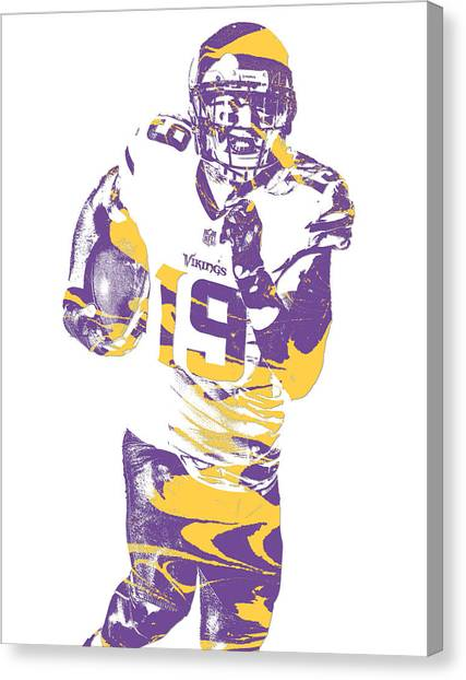 Minnesota Vikings Canvas Print - Adam Thielen Minnesota Vikings Pixel Art 11 by Joe Hamilton