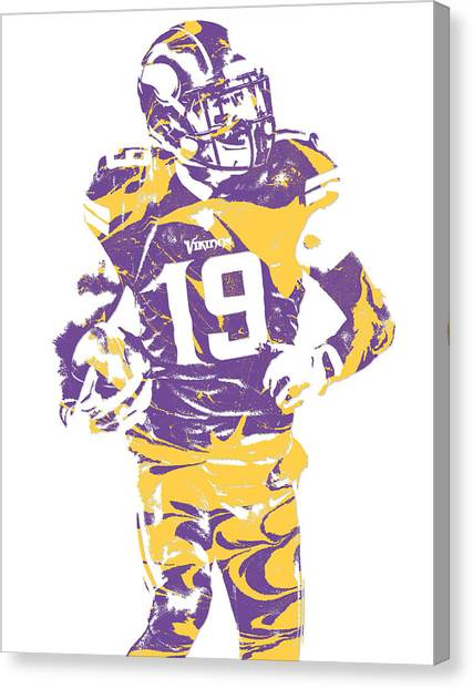Minnesota Vikings Canvas Print - Adam Thielen Minnesota Vikings Pixel Art 2 by Joe Hamilton
