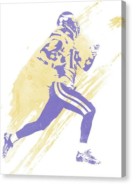 Minnesota Vikings Canvas Print - Adam Thielen Minnesota Vikings Water Color Art 2 by Joe Hamilton