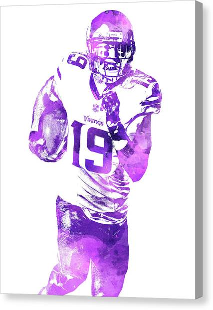 Minnesota Vikings Canvas Print - Adam Thielen Minnesota Vikings Water Color Pixel Art 2 by Joe Hamilton
