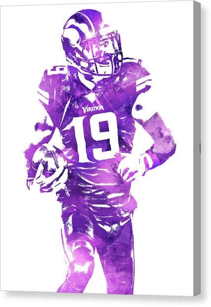 Minnesota Vikings Canvas Print - Adam Thielen Minnesota Vikings Water Color Pixel Art 4 by Joe Hamilton