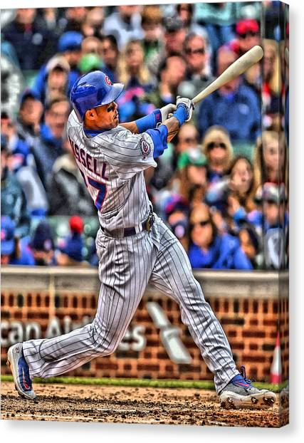 Chicago Cubs Canvas Print - Addison Russell Chicago Cubs by Joe Hamilton