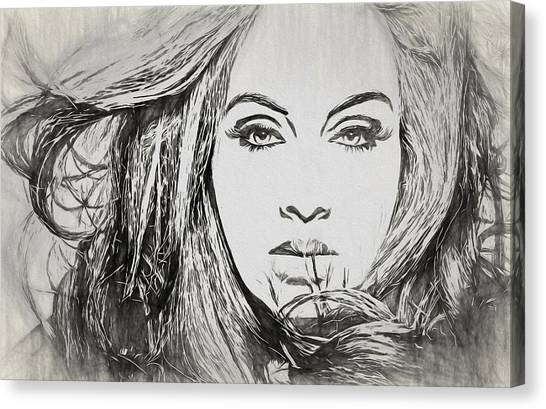 Adele Canvas Print - Adele Charcoal Sketch by Dan Sproul