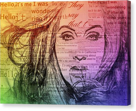 Adele Canvas Print - Adele Hello Typography  by Dan Sproul