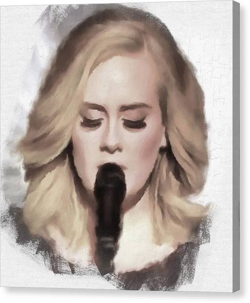 Adele Canvas Print - Adele Portrait Hello by Yury Malkov