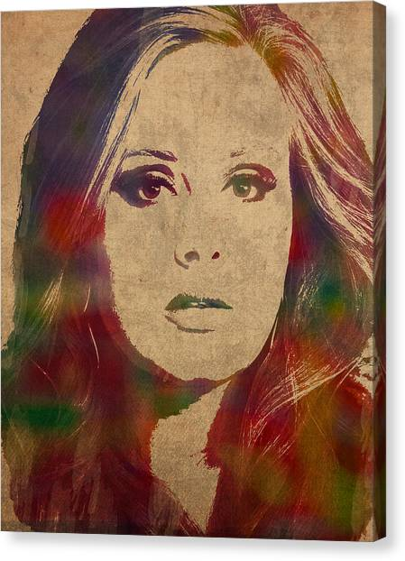 Adele Canvas Print - Adele Watercolor Portrait by Design Turnpike