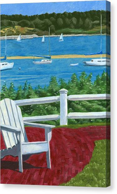 Canvas Print featuring the drawing Adirondack Chair On Cape Cod by Dominic White