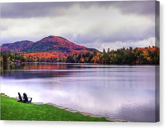 Adirondack Chairs In The Adirondacks. Mirror Lake Lake Placid Ny New York Mountain Canvas Print