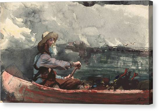 Canoe Canvas Print - Adirondacks Guide by Winslow Homer