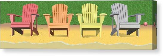 Adirondacks On The Beach Canvas Print by Marian Federspiel