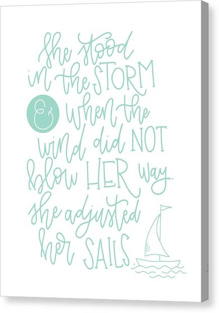Storm Canvas Print - Adjusted Her Sails by Nancy Ingersoll