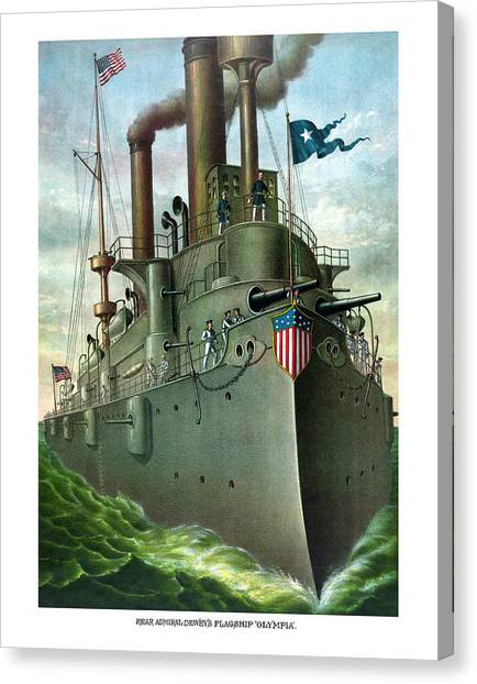 Battleship Canvas Print - Admiral Dewey's Flagship Olympia  by War Is Hell Store