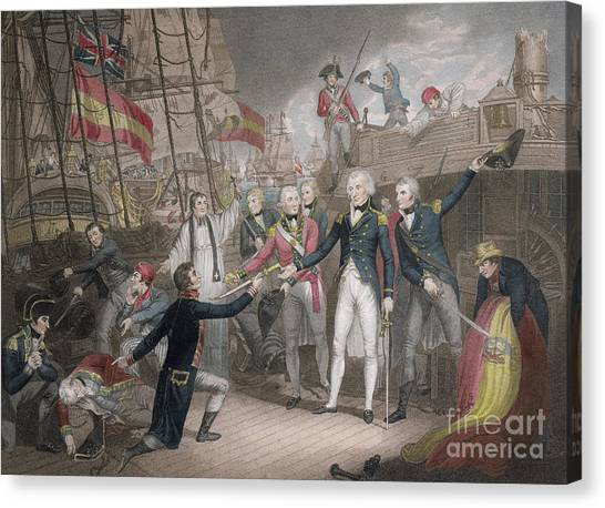 Submission Canvas Print - Admiral Nelson's Boarding The Two Spanish Ships, 14th February 1797 by Daniel Orme