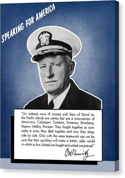 Navy Canvas Print - Admiral Nimitz Speaking For America by War Is Hell Store