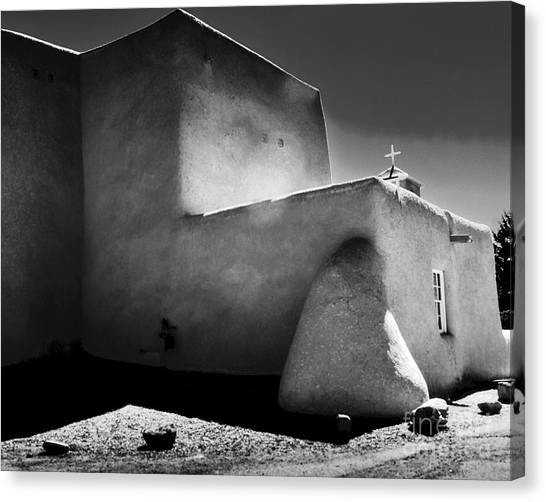 Adobe Church In B-w Canvas Print