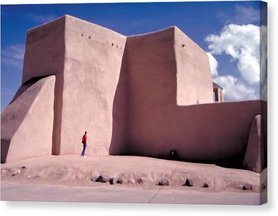 Canvas Print - Adobe Church In Taos by Carl Purcell