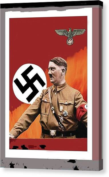 Adolf Hitler In Color With Nazi Symbols Unknown Date Additional Color Added 2016 Canvas Print