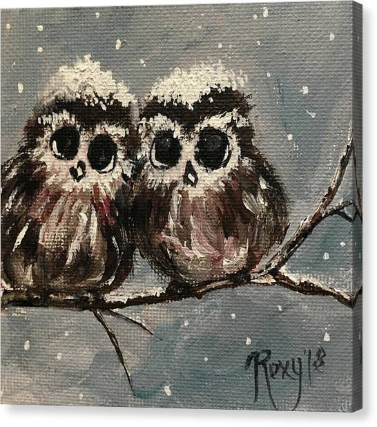 Large Birds Canvas Print - Adorable Owl Chicks  by Roxy Rich