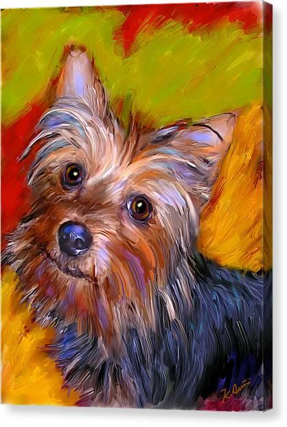 Adorable Yorkie Canvas Print by Karen Derrico