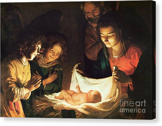 Mary Canvas Print - Adoration Of The Baby by Gerrit van Honthorst